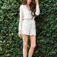 Chantel White Lace Long Sleeve Romper