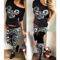 2016 Two Piece Sets Camouflage Print Cartoon Tops Long Pants Lady Fitness Sexy Summer Style Women Casual Clothing
