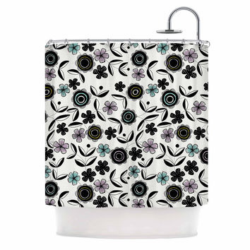 "Jessica Wilde ""Artisan Floral"" Black White Shower Curtain"