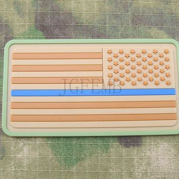 tan background tan design Right Multicam The thin blue line America flag Police SWAT Military Morale 3D PVC  patch PB1377