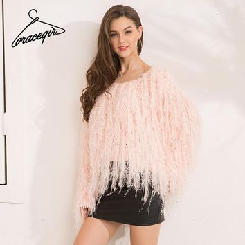 Gracegirl 2017 Autumn Women Sweaters Series Winter Tassel Knitted Mohair Shaggy Yarn Jumper Femme Pink Fashion Sweater SA171009