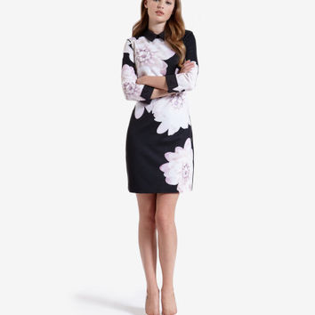 Monochrome Floral shift dress - Black | Dresses | Ted Baker