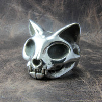 Cat Skull Ring by COVO on Shapeways