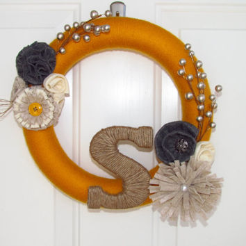Customized Handcrafted Monogram Yarn Wreath with Felt Flowers