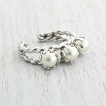 Vintage Faux Pearl Ring - Elegant 1960s Silver Tone Adjustable Braided Band Costume Jewelry / Triple White