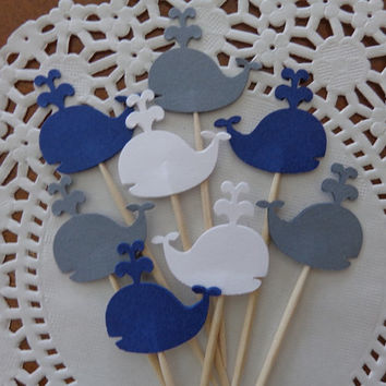 24 Whale Cupcake Toppers - Party Picks - Food Picks - Navy Blue, Grey and White