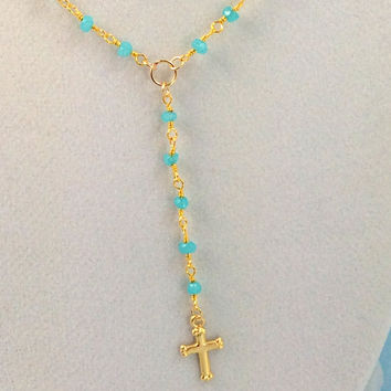 Aqua Chalcedony Rosary Necklace 14kt Gold Filled Simple Delicate Womens Rosaries Cross Necklaces