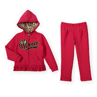 Disney Baby Girls 2 Piece Red/Leopard Print French Terry Minnie Mouse Hoodie and Pants Playwear Set