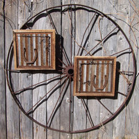 Reclaimed Barn Wood Wall Art with Old Workhorse Horseshoes and Barb Wire, Horseshoe Art Western Decor