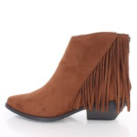 Cognac Fringe Detailed Ankle Booties Faux Suede