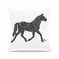 "Adriana De Leon ""Horsie"" Horse Illustration Outdoor Throw Pillow"