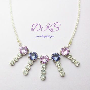 Lady Violet, Swarovski Necklace, Bridal, Crystal Chain, Jewelry Gifts, Modern, Stunning, dksjewelrydesigns, FREE SHIPPING