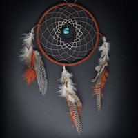 Large Tri-colored Turquoise Dream Catcher