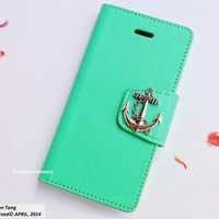 Anchor iPhone 5 case - Mint iPhone 5 case - iPhone 5 Wallet case- leather iphone 5s,credit card holder,nautical,iPhone 5 case cover Handmade