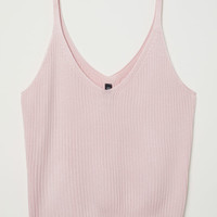 Ribbed strappy top - Light pink - Ladies | H&M GB