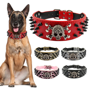 Spiked Leather Dog Collar 3 Rows Rivets Studded PU Leather Cool Skull Pet Accessories Best Choice for Medium and Large Dogs