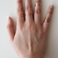 Rose Gold Thin Band Ring Set