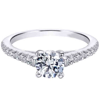 "Ben Garelick Royal Celebrations ""Scarlett"" Prong Set Round Cut Diamond Engagement Ring"