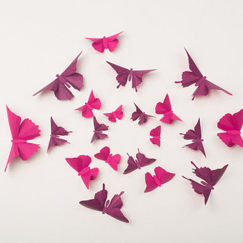 3D Wall Butterflies: Butterfly Wall Art for Nursery, Girl's Room, or Home Decor - Flight of 20 in Magenta and Raspberry Damask