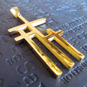 Large Gold Calvary 3 Cross Necklace Pendant Stainless Steel Chain Mens Boys Christian Jewelry - Saint Michaels Jewelry - Calvary Three Cross
