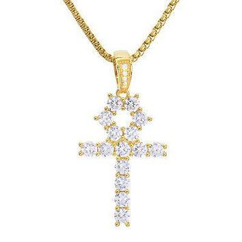"Jewelry Kay style Men's Gold Tone Stone Ankh Cross Pendant & Stainless Steel 22"" Chain BSH 13108 G"