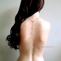 Back drop silver pearl long necklace backless dress jewelry layered back body chain wedding bride bridal pearl necklace backdrop fresh water