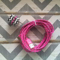 New Super Cute Jeweled Black & White Chevron Designed USB Wall Connector + 10ft Braided Hot Pink IPhone 5/5s/5c Cable Cord
