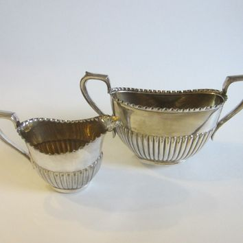 English Silver Cream Sugar Breakfast Bowls Art Deco Style Handles Hallmarks