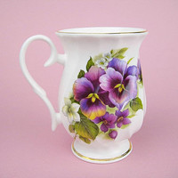 Purple Pansies on Bone China Coffee or Tea Mug Cup, Royale Gardens Made in Staffs England, Holds 10 Ounces, For Office, Gift for Mothers Day