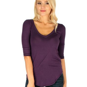 Lyss Loo Truly Madly Deep-V Neck 3/4 Sleeve Purple Tunic Top