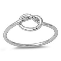 925 Sterling Silver Love Knot Promise Ring adjustable