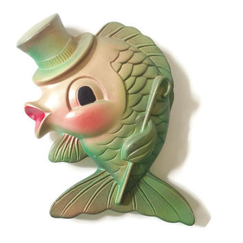 ON SALE Mid Century * Kissing Fish * Chalk ware Wall Decor * Chalkware Home Decor * 1960's Bathroom decor