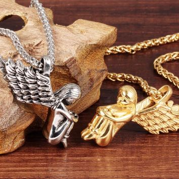 Angel Wing Pendant Necklace New Initial lariat Necklaces Steel / Gold Color Stainless Steel Women Men Jewelry Gifts