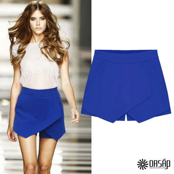 Stunning Solid Tulip Shorts Women Side Zipper High Waisted Shorts