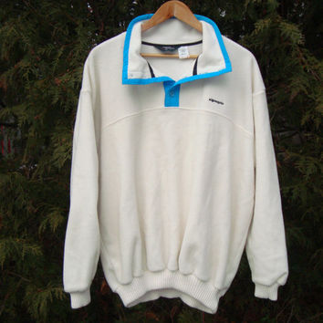 Sweet 90s Fleece Algonquin Brand White Sweater and Blue Pullover Fleece Jacket 90s Clothing Size XL 90s Grunge Ski jacket Jumper