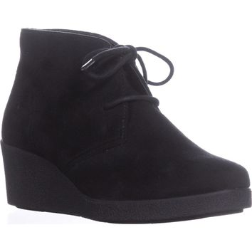 SC35 Jerard Lace Up Wedge Ankle Booties, Black, 8.5 US