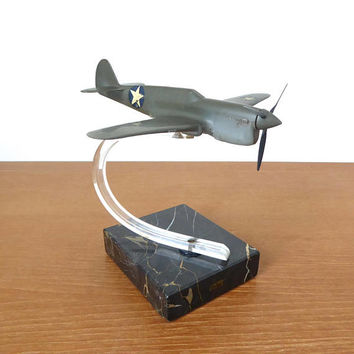 Parker B-51 bomber plane model on acrylic and marble base