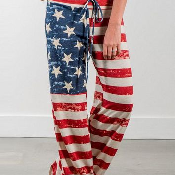Beige-Red Striped American Flag Print Drawstring Waist Oversize Casual Long Pants
