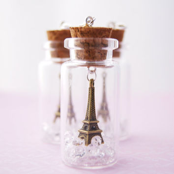 Miniature Eiffel Tower in a Bottle Jar with Rhinestone Diamond Shape Crystals Charm