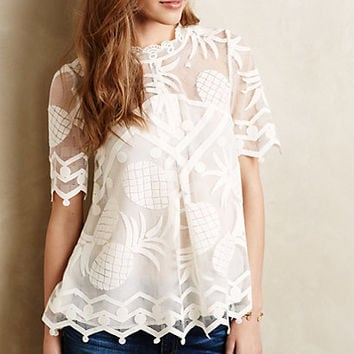 Pineapple Lace Peasant Top