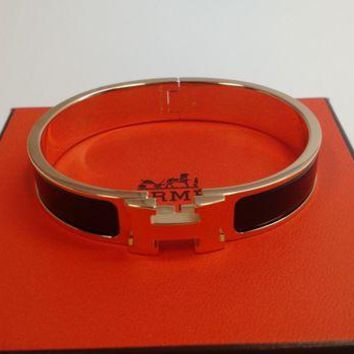 Gotopfashion HERMES PARIS F1 01 36 LE CLIC H BANGLE BRACELET GOLD/BLACK ENAMEL SIZE GM
