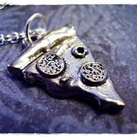 Silver Pizza Slice Necklace - Antique Pewter Pizza Slice Charm on a Delicate 18 Inch Silver Plated Cable Chain