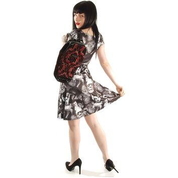 Rock Rebel Women's Damask Coffin Backpack In Red Girls Handbag Red