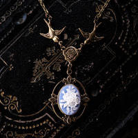 Victorian Flower Cameo Necklace- Brass and Blue - $28.00 : RagTraderVintage.com, Handmade Indie Retro Accessories