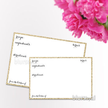 Instant download - printable recipe card, blank recipe card, recipe card 6x4 7x5, elegant gold glitter printable recipe card - ORG 003