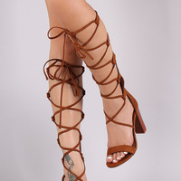 Bamboo Suede Braided Lace-Up Chunky Heel