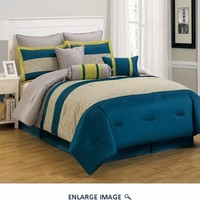 13 Piece Queen Carter Blue and Yellow Bed in a Bag Set