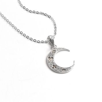Crescent Moon with Four Suits Pendant Necklace