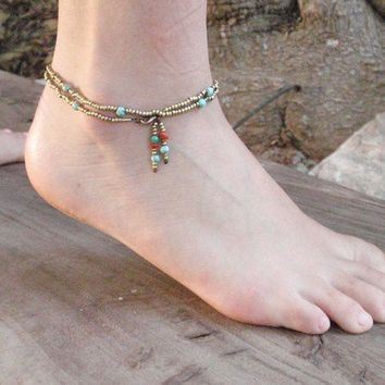 Turquoise Summer Delicate Anklet With Brass Beads, HowliteTurquoise Stones And  Beads Ornaments, Spring Sale