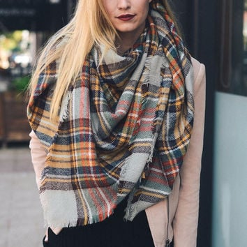 Plaid Blanket Scarf - Brown Yellow Orange Gray